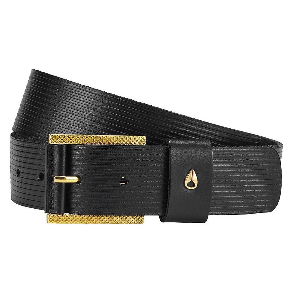 nixon americana belt c-3p0 overall view mens leather belts black/gold