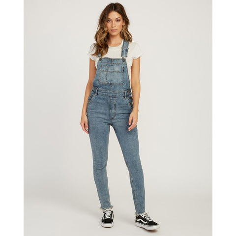 rva foss overall front view Womens Skinny Jeans denim