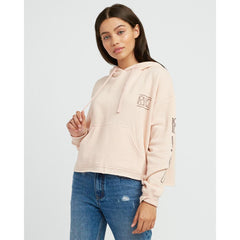 rvca venetian cropped front view Womens Pullover Hoodies pink