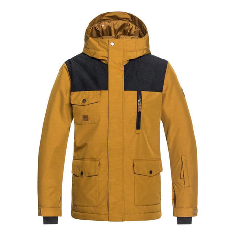 quicksilver raft snow jacket front view Boys Snowboard Jackets gold