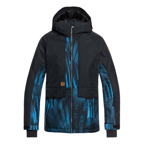quicksilver travis ambition jacket front view Youth Snowboard Jacket black/blue
