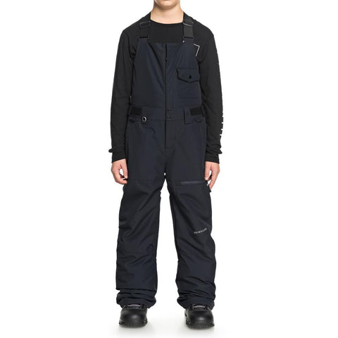 quicksilver stratus bib snowpants front view Youth Snowboard Pants black