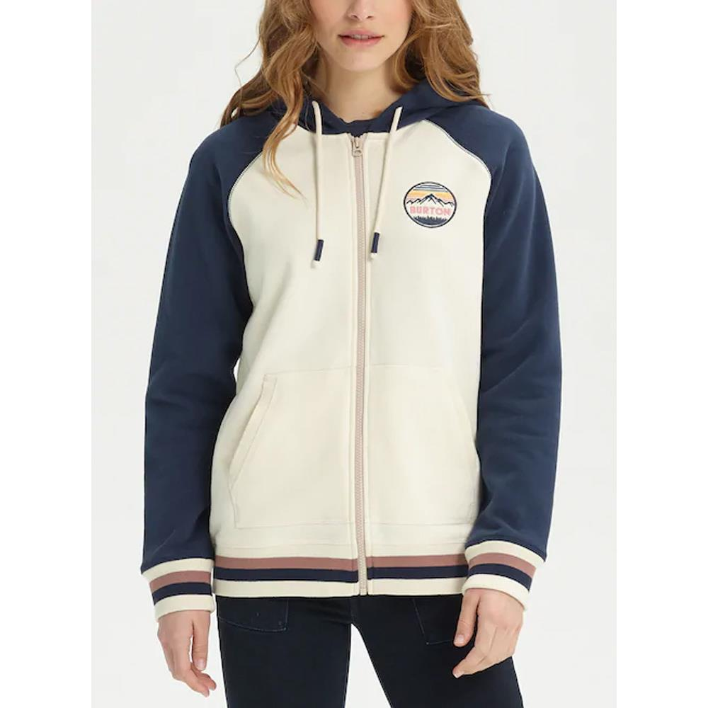 burton idletime hoodie front view Womens Zip Up Hoodies white/blue