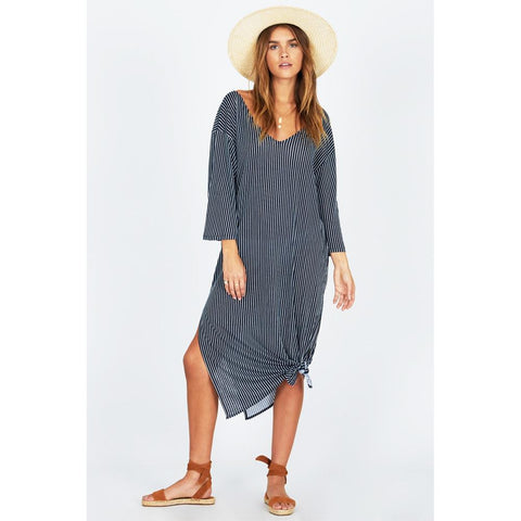 AMUSE SOCIETY MORNING FOG DRESS FRONT VIEW CASUAL DRESSES NAVY