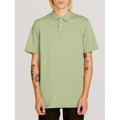 VOLCOM WOWZER POLO FRONT VIEW MENS POLO SHIRTS GREEN