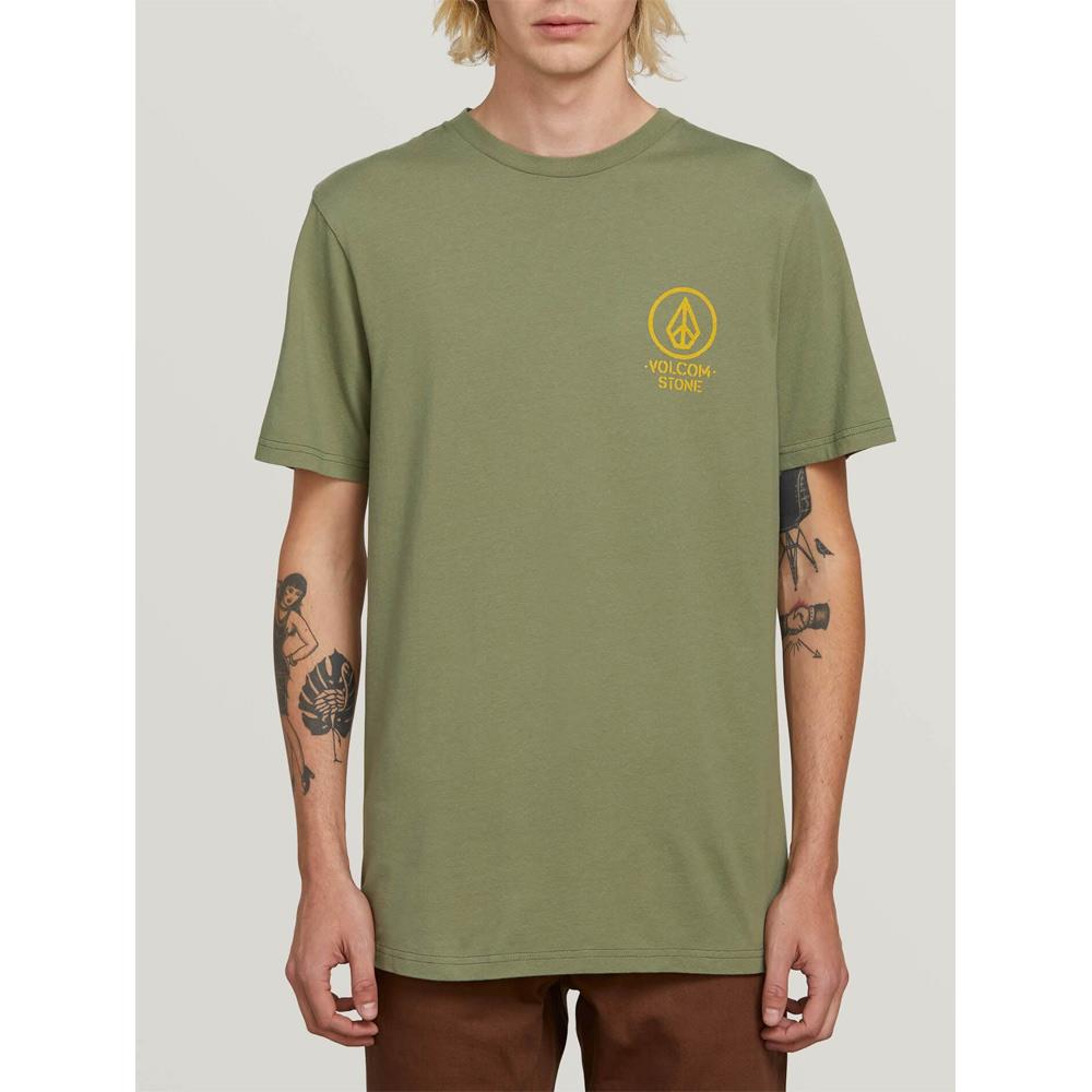 VOLCOM CROWD CONTROL SS FRONT VIEW MENS PREMIUM T-SHIRTS GREEN