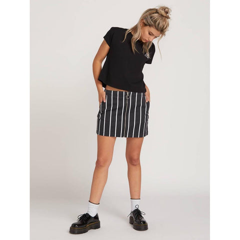 volcom frochickie skirt front view womens skirts black pinstripe