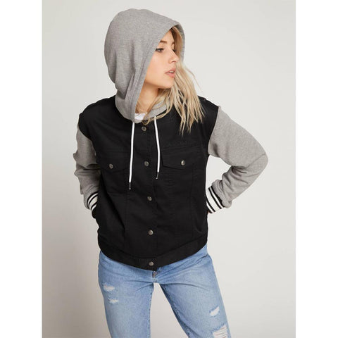 volcom sea enemy jacket front view womens casual jackets black