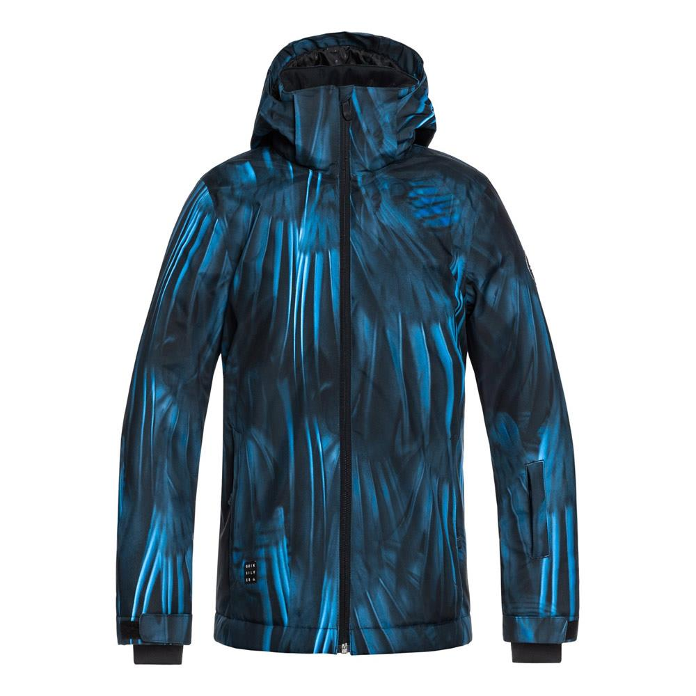 quicksilver mission youth jacket front view youth snowboard jackets black/blue