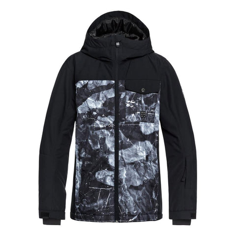 quicksilver mission block jacket youth front view youth snowboard jackets black/grey