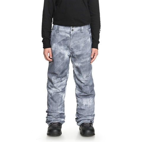 quicksilver estate snow pants front view youth snowboard pants grey/white