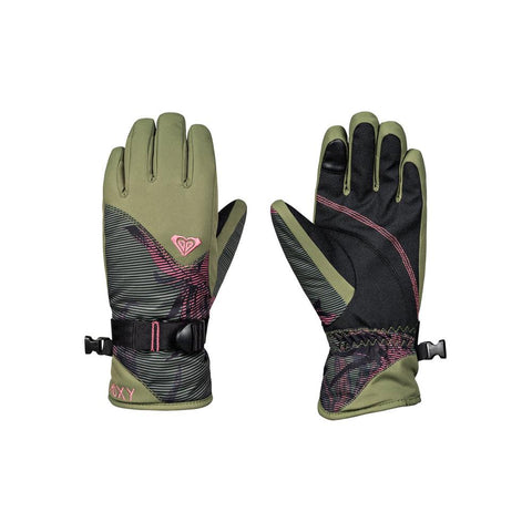 roxy jett girl gloves front and back view youth glove green/black