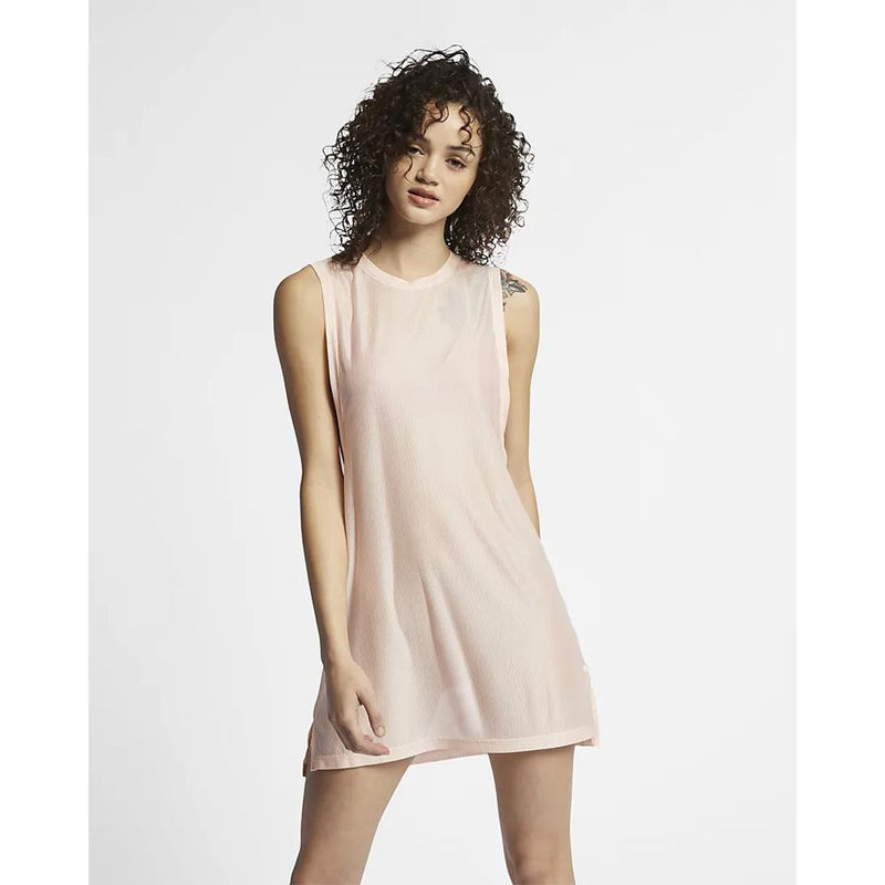 Hurley, Quick Dry Blaze Biker Dress, Womens dresses, beach cover, Crimson tint, pink, AR4242 front view