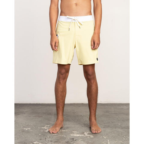 rvca Higgins Trunk front view mens boardshorts yellow