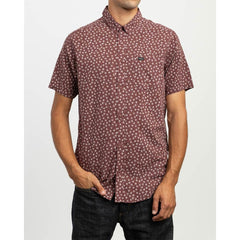 RVCA FICUS FLORAL SS FRONT VIEW MENS BUTTON UP SHORT SLEEVE SHIRTS MAROON