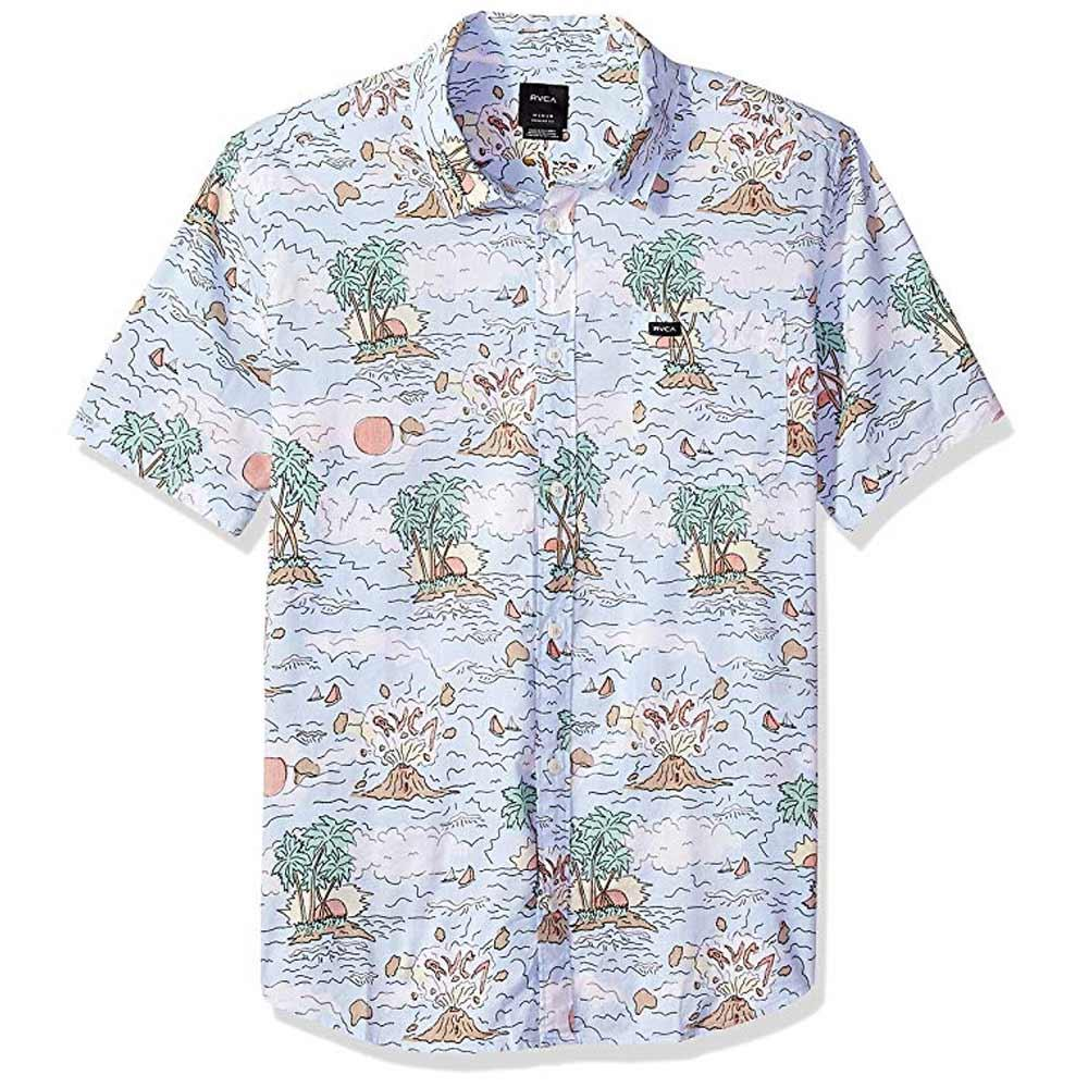 rvca ceddia ss front view Mens Button Up Short Sleeve Shirts multi