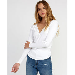 rvca zinnia front view womens long sleeve shirts white