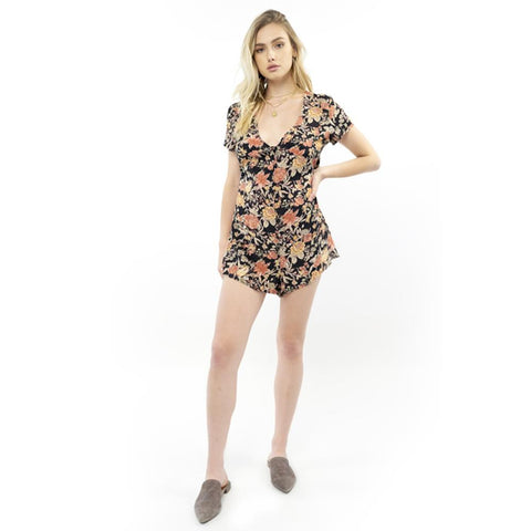 Saltwater Luxe, Button Front open back romper, Black, Floral, S1007-W3