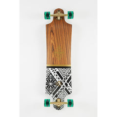 "Dusters, Lekker Longboard Complete, Drop through trucks, White/Gold, 38"", 10531443, bottom view"