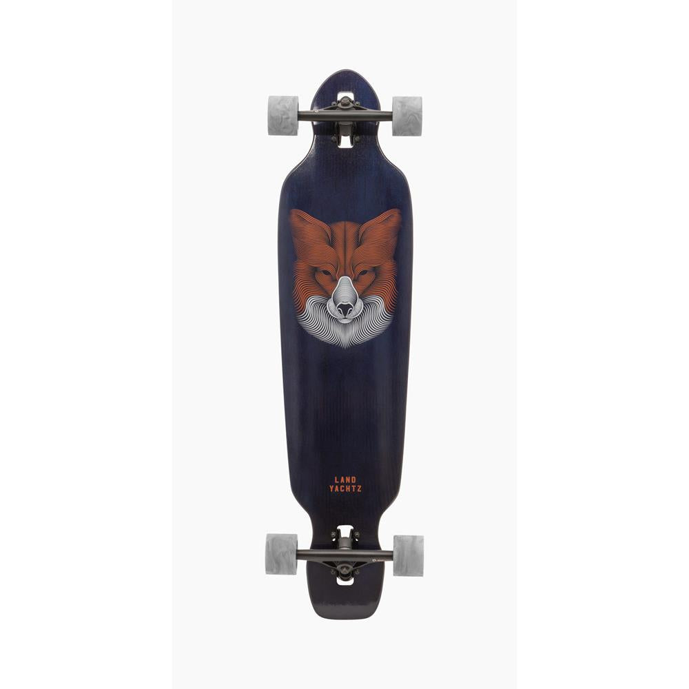 "119CP-FRBA38FX, Battle Axe 38 Fox Complete, Complete Longboards, 38"", Blue, Navy, Orange, Bottom View"