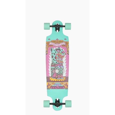 "119CP-FRDCT38IL, 38"", Landyachtz, Drop Cat Illumination Complete, Longboard complete, Teal, Bottom view"