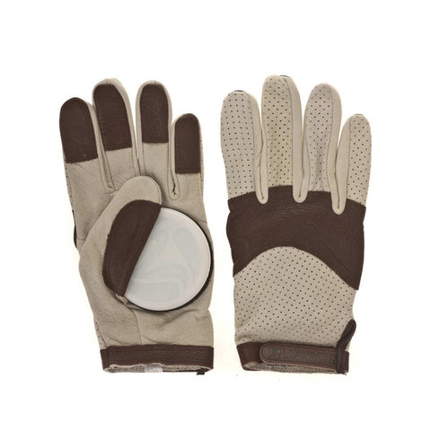 Landyachtz, Leather Burley Sliding Gloves, Brown, White, Longboard Gloves, M, L, 1GL-LT
