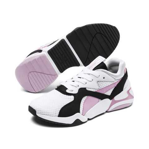 Puma, Nova 90's Bloc, White, White and pale pink, sneakers, 369486-03
