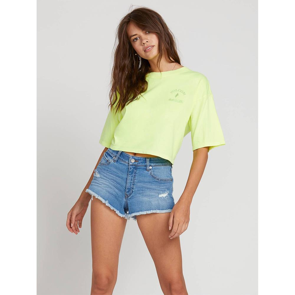 Volcom, Neon and on Tee, Womens cropped tee, Yellow, Neon Yellow, B3521908-NNY Front View
