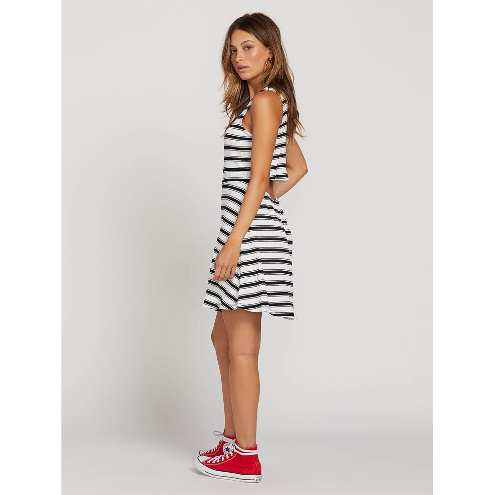 Volcom, Stone Stripe Dress, Womens Casual Dresses, Back cut out, Black, White, B1321920-BWH, Back View