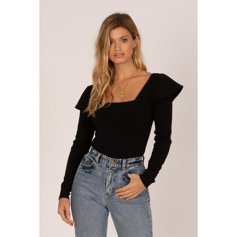 Amuse Society, A903MANI-BLK, Black, Anita Long Sleeve Knit Bodysuit, Womens Fashion Tops, Fall 2019, Front View