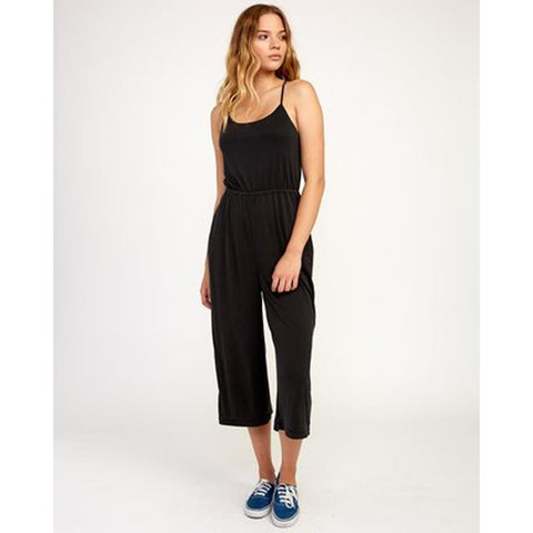 RVCA, Front View, Jarvis Knit Jumpsuit, Womens Jumpers, Black, Blk, WN08TRJJ