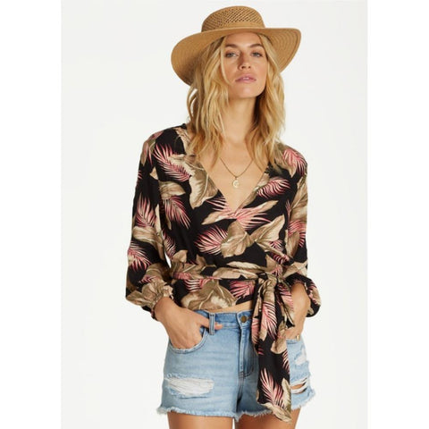 J524VBLO-Blk, Love Wrapped Top, Billabong, Black, Womens Fashion Tops, Fall 2019