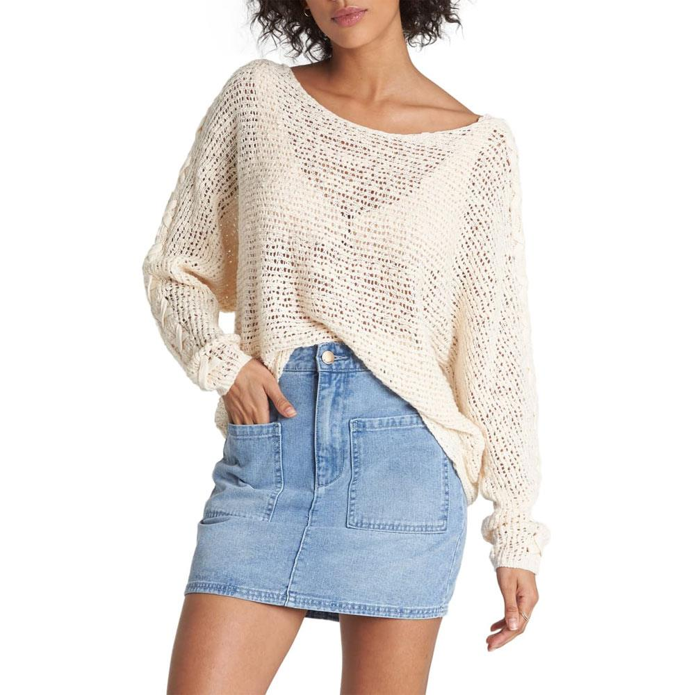 Billabong, JV01VBCH-WCP, Chill Out Sweater, White Cap, Womens Sweaters, Fall 2019, Front View