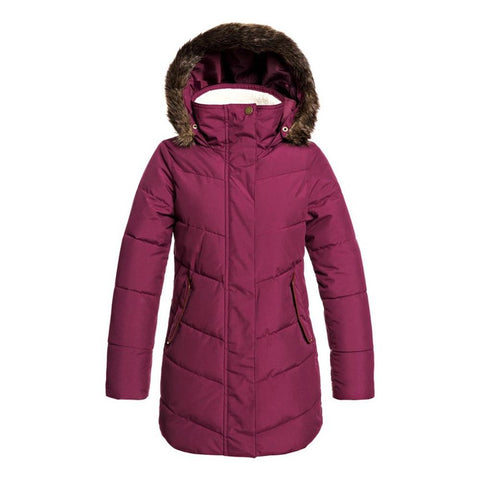 ERJJK03291-PSF0, Grape Wine, Roxy, Elsie Girl Longline Hooded Waterproof Puffer Jacket, Girls Jackets 7-14 Years old