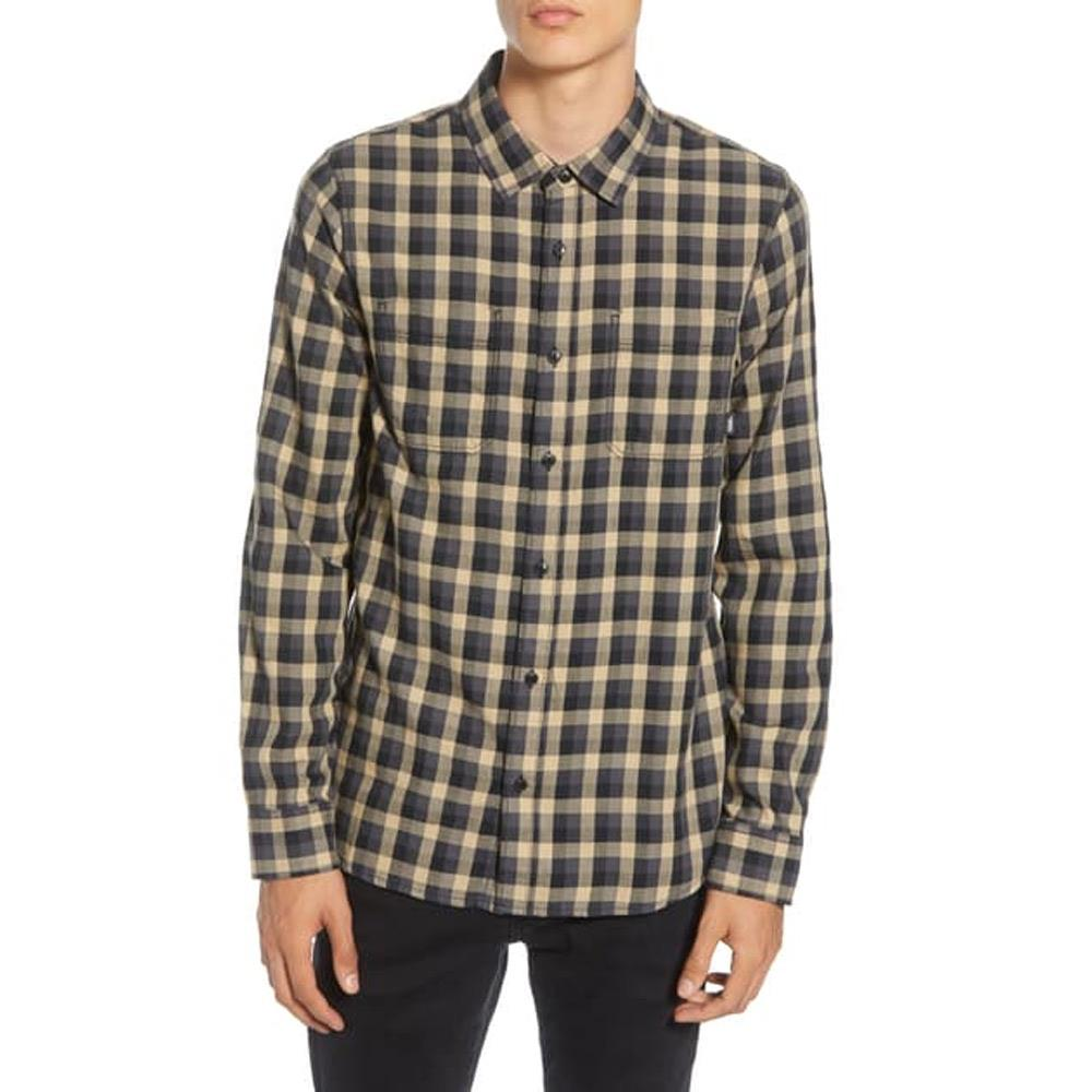 VN0A36HLKHK, KHAKI, VANS, ALAMEDA II FLANNEL BUTTON UP SHIRT, MENS LONG SLEEVE SHIRTS, PLAID, FALL 2019