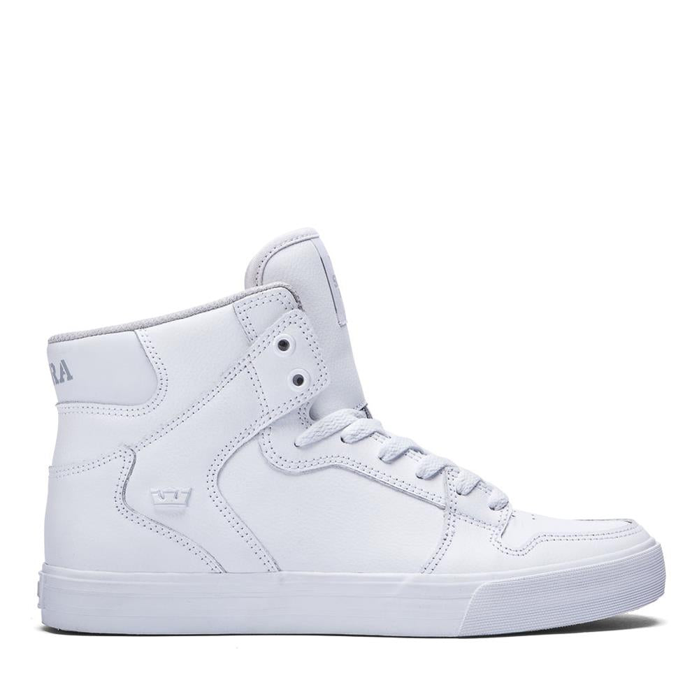 SUP-08201-149, Supra, Vaider, Leather High Tops, White, Side View
