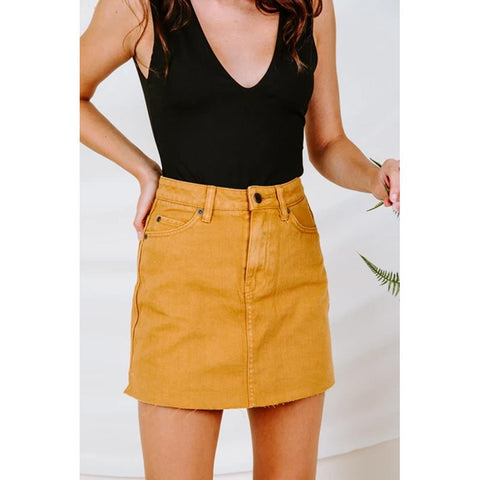 RVCA, Rowdy Mini Skirt, WK01VRRM-CSP, Cathay Spice, Yellow, Mustard, Womens Skirts, Front View, Fall 2019