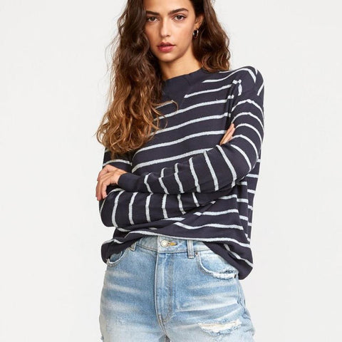 RVCA, WV02VRTR-INK, Ink color, Tristan Striped Sweater, Womens Sweaters, Blue, Front View, Fall 2019