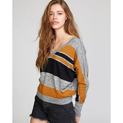RVCA, WV03VRCA-CSP, Cathay Spice, Carter Striped Sweater, Womens Sweaters, Mustard, Black, Grey, Fall 2019, Front View
