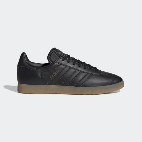 Adidas,Gazelle Shoes, Black, Leather Upper,7,8,9,10,10.5,11,12, Side View