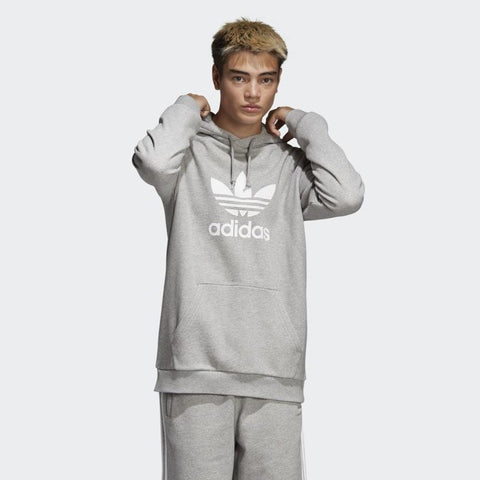 dt7963 Adidas Trefoil Hoodie medium heather grey front view