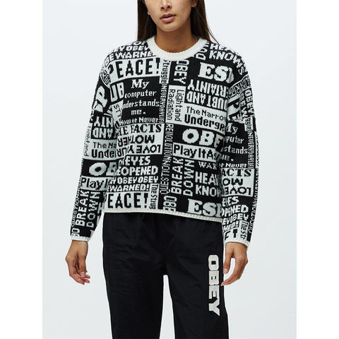 251000085.BKM, POST CREW SWEATER, OBEY, WOMENS SWEATERS, BLACK, WHITE, FALL 2019