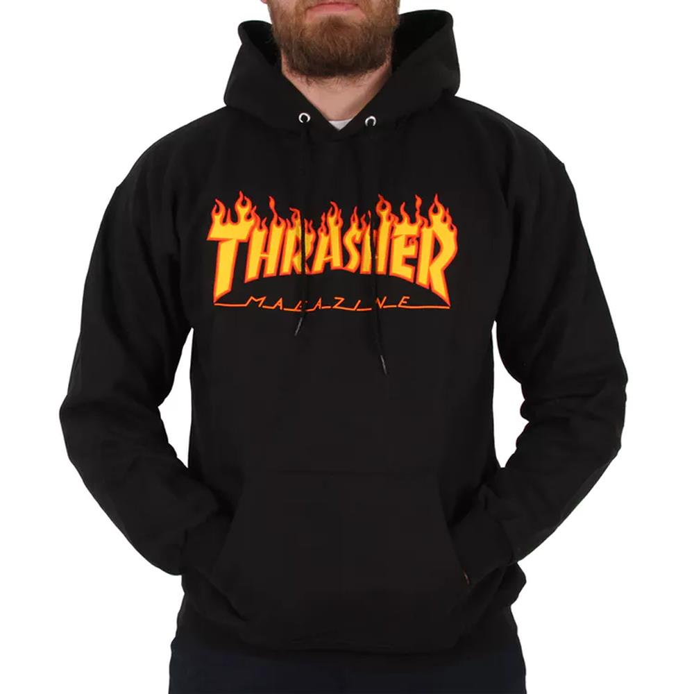 Thrasher, THR-311194, Black, Flame Logo Hood, Mens Pullover Hoodies, Fall 2019
