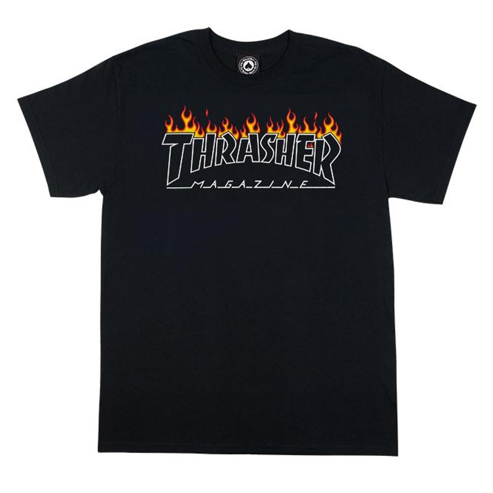 Thrasher, THR-311216, Black, Scorched Outline SS Tee, Mens T-shirts, Fall 2019