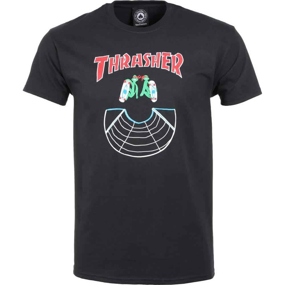 Thrasher, THR-311218, Black, Doubles SS Tee, Mens Short Sleeve T-shirts, Fall 2019