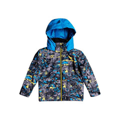 EQKTJ03010-GJC1, Sulpher Pop Yeti Forest, Little Mission Snow Jacket, Boys Outerwear, Blue, Yellow, Quiksilver, Front View