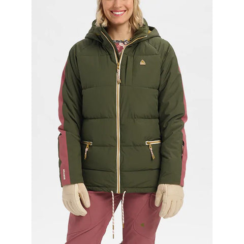 21435100300, WOMENS KEELAN JACKET, BURTON, WOMENS JACKETS, GREEN, ROSE, FOREST NIGHT / ROSE BROWN, WINTER 2020, FRONT VIEW
