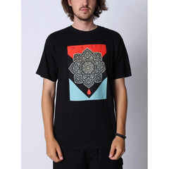 163082093.BLK, BLACK, OBEY, BLOOD AND OIL MANDALA BASIC TEE, MENS T-SHIRTS, FRONT VIEW, FALL 2019