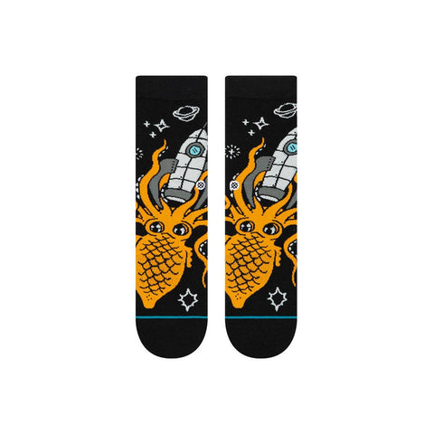 K515C19SPA.ORG, ORANGE, BLACK, STANCE SOCKS, SPACE SQUID, BOYS CREW SOCKS,