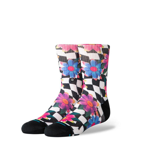 K526C19CDK.BLK, BLACK, STANCE KIDS CRAZY DAISY, KIDS CREW SOCKS,